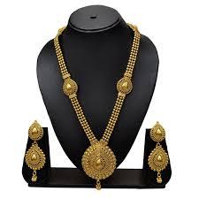 gold long necklace images Buy pourni antique design gorgeous gold finishing long necklace jpg