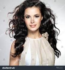 beautiful young woman long brown hair stock photo 120599230