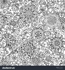 seamless asian ethnic floral retro doodle stock vector 291769040
