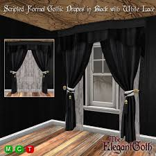 Drapes Black And White Second Life Marketplace Scripted Open Close Formal Gothic Drapes