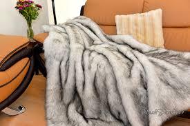 Fake Fur Throws Plush Exotic Black Tip Polar Bear Huskie Faux Fur Throw Modern Or