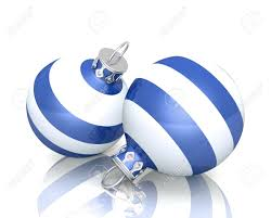 christmas ornaments 2x blue white striped 04 stock photo