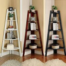 Corner Ladder Bookcase Black Cherry White Wooden 5 Tier Display Storage Corner Ladder