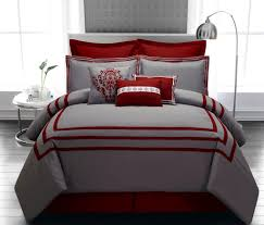 Red Bedroom Comforter Set 9 Piece Queen Wilshire Burgundy And Gray Comforter Set Room