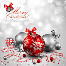 christmas greeting card or background in silver and red vector