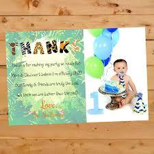 1 Year Invitation Birthday Cards Birthday Thank You Card Jungle Themed Thank You Card Safari