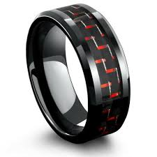 carbon fiber wedding rings 8mm mens black tungsten wedding band with black carbon fiber