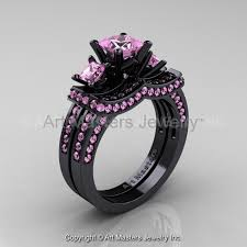 black wedding rings with pink diamonds black and pink rings wedding promise