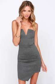 grey bodycon dress grey dress chic grey dress bodycon dress strapless