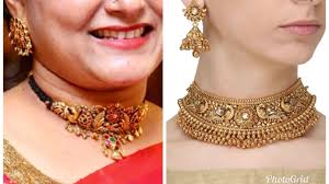 elegant gold necklace designs images Beautiful and elegant gold choker necklace designs jpg