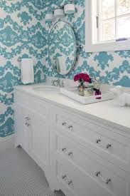 flocked turquoise wallpaper contemporary bathroom martha o