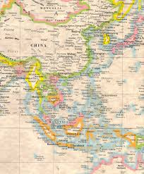 Antique World Map by Antique World Map Close Up In The Far East