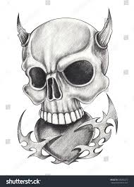 skull heart devil tattoohand pencil drawing stock illustration