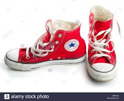 Converse American Flag Shoes Red Converse Chuck Taylor All Star Shoe Pair Stock Photo Royalty