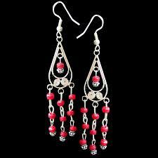 Red Chandelier Earrings Mexican Chandelier Earrings