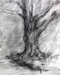 winter u0027s shadow charcoal tree drawing fine art landscape tree