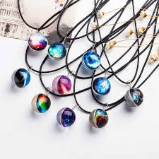 glass star pendant necklace images 2017 new retro planet crystal star glass galaxy pattern leather jpg