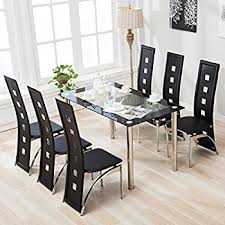 White Dining Room Table And 6 Chairs Amazon Com Ids Home 7 Piece Glass Dining Table And Chair Set For