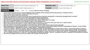 Machine Operator Sample Resume by Machine Operator Packaging Resume Sample