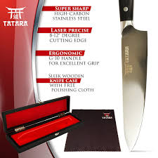 High Carbon Kitchen Knives by Amazon Com Tatara Chef Knife 8 Inch Professional High Carbon