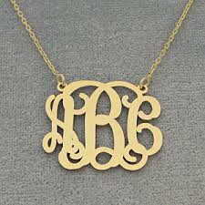 monogram necklace gold 10k 14k solid gold 3 initials monogram necklace 1 inch wide gm 31c