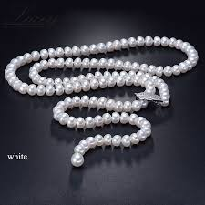 natural freshwater pearl necklace images Genuine natural freshwater pearl long necklace for women jpg