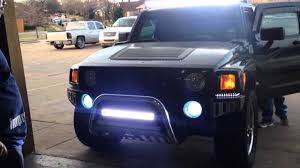 Led Light Bar Headlight by Auto Impressions Hummer H3 Led Bars Top Amd Bottom Youtube