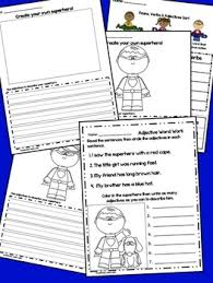 nouns verbs adjectives center with posters and word work