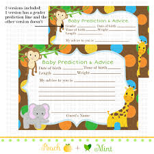 jungle baby shower invite printable safari or jungle baby shower advice card jungle