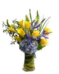 Purple Hydrangea Yellow Calla Lily And Purple Hydrangea Arrangement In San