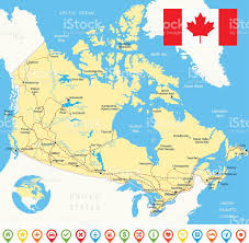 Canada Map by Canada Map 3d Flag And Navigation Icons Illustration Stock Vector