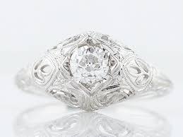 antique engagement ring art deco 39 old mine cut diamond in 18k