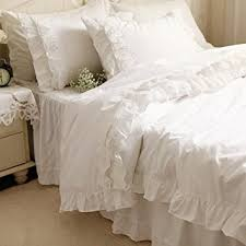 Ruffle Bed Set Amazon Com Diaidi Home Textile White Lace Ruffle Bedding Set