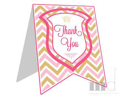 printable thank you cards princess princess party printable thank you cards notes in gold and pink