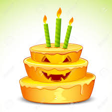 illustration of pumpkin cake for halloween with candle royalty