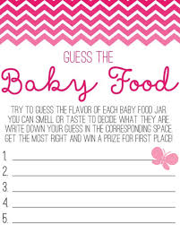 butterfly guess the baby food game sheet baby shower pinterest