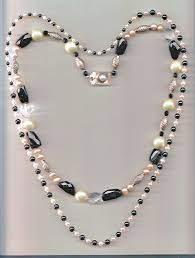 black necklace white images Black pearl crystal silver pearl necklace jpg