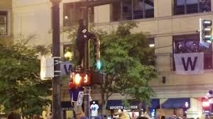 Jumping Light Cubs Fan Jumping Crowd Diving From Street Light Youtube