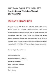 2007 arctic cat 250 dvx utility atv service repair workshop manual do u2026