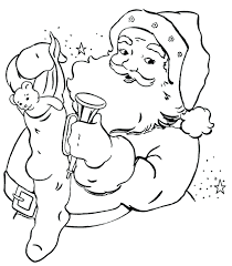 Stocking Present Coloring Pages Santa Claus Free Pics Pdf