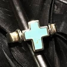 estate sterling silver turquoise cross scroll design flip spinner