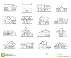house icons flat set stock vector image 55152337