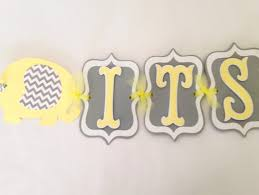 it u0027s a boy elephant baby shower banner in yellow and gray