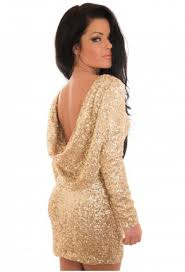 gold party dress gold sleeve sequined backless bodycon party dress abaday