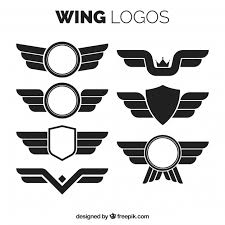 wing logos in flat design vector free
