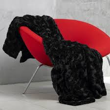 plaid noir canapé plaid ou couvre lit imitation fourrure haut de gamme noir agneau
