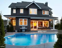 canada british columbia surrey back yard of house with pool at