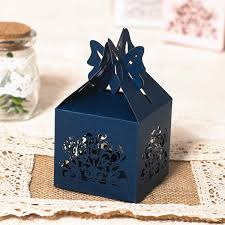Blue Favor Boxes by Navy Blue Laser Cut Wedding Favor Boxes Ewfb112 As Low As 0 93