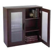Small Bookcases With Glass Doors Storage Bookcase With Glass Doors 30 In High Mahogany Walmart