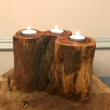 fifth anniversary gift reclaimed wood candleholder beech wood christmas candleholder